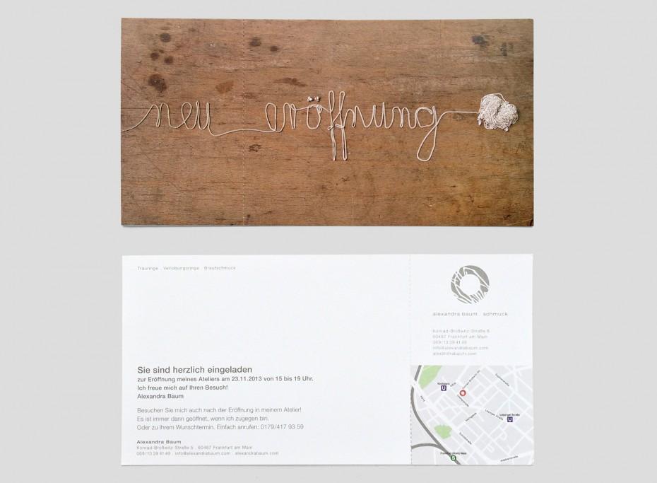 Einladung Postkarte, Alexandra Baum